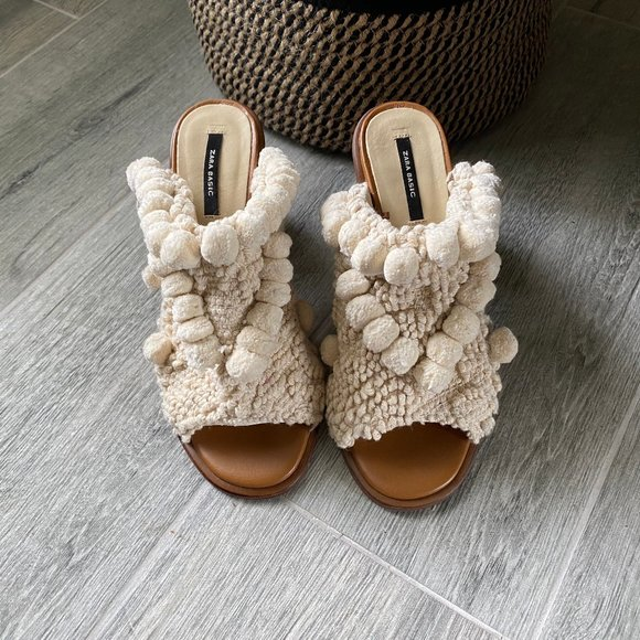 Zara Shoes | High Heel Mules With Pom